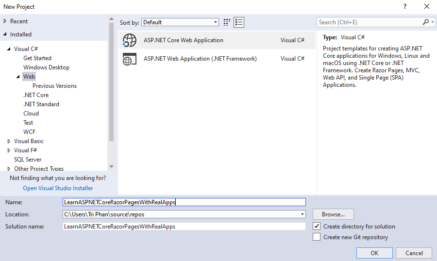 Read Data from Database with Entity Framework Core in ASP